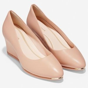 Cole Haan Grand Ambition Nude Leather Wedge Pumps